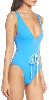 Solid & Striped Michelle Tie Waist One-Piece Swimsuit