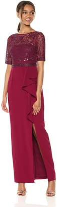 Adrianna Papell Women's Long Dress with Beaded Top and Ruffle On Skirt