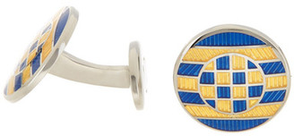 David Donahue Sterling Silver Gold & Blue Multi Circle Cuff Links $195 thestylecure.com