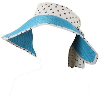 AERUSI Women's and Girl's Polka Dot Straw Visor Sun Hat