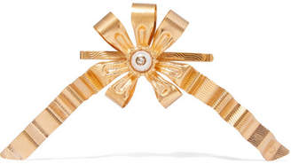 Gold-plated Faux Pearl Hair Slide - Brass
