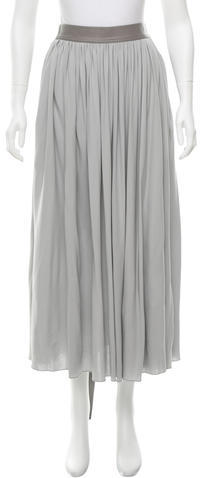 CelineCéline Leather-Trimmed Midi Skirt w/ Tags