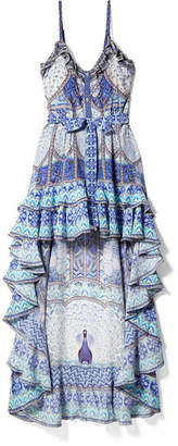 Camilla Wings To Fly Embellished Printed Silk Crepe De Chine Maxi Dress - Blue