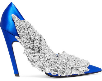 Balenciaga - Sequin-embellished Satin Pumps - Bright blue $2,850 thestylecure.com