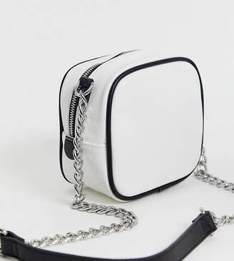 ddddc93652de3 Bershka chain handle cross body bag in white