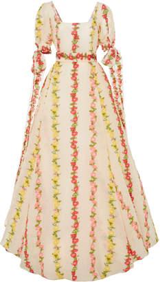 Luisa Beccaria Square Neck Crepe De Chine Floral Gown