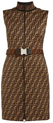 Fendi Ff Jacquard Cotton Blend Mini Dress - Womens - Brown Multi