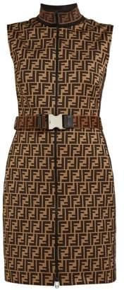 Fendi Ff Jacquard Cotton Blend Mini Dress - Womens - Brown Multi