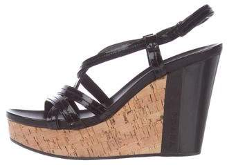 Prada Sport Patent Leather Wedged Sandals
