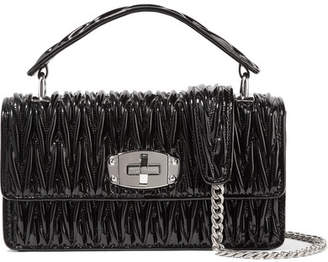 Miu Miu Cleo Matelassé Patent-leather Shoulder Bag - Black