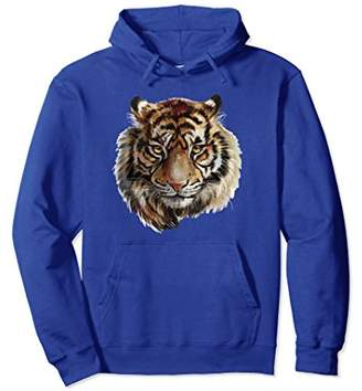 Lovely Tiger Hand Painted Portrait Long Sleeve Shirt Hoodie