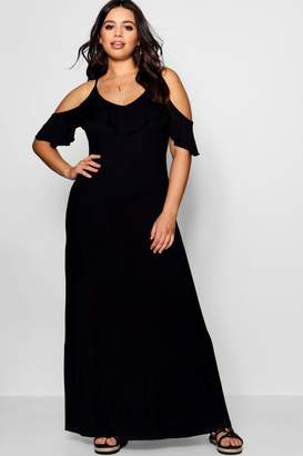 boohoo Plus Ruffle Detail Cold Shoulder Maxi Dress