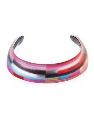 Alexis Bittar 90s Mash-Up Striped Lucite® Choker Collar, Black/White $295 thestylecure.com