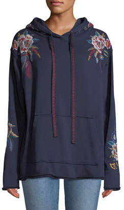 Johnny Was Darielle Embroidered Hoodie Sweatshirt