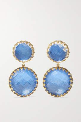 Larkspur & Hawk Olivia Large Gold-dipped Quartz Earrings - Azure