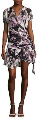 Roberto Cavalli Print Wrap Silk Dress