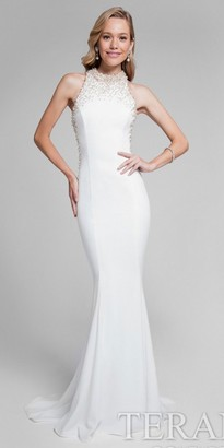 Terani Couture Beaded Racer Keyhole Fitted Evening Dress $495 thestylecure.com