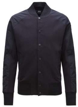 BOSS Hugo Varsity-style jacket press-stud front closure L Open Blue