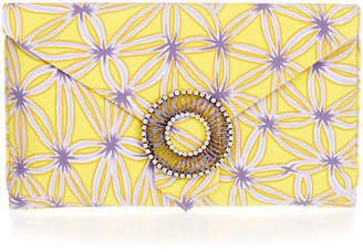 Wilbur & Gussie Edith Lilac and Yellow Flower Large Envelope Clutch Bag
