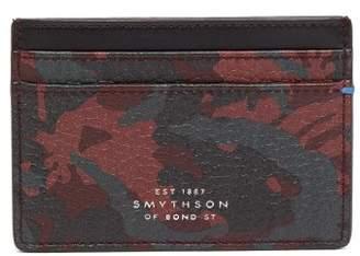 Smythson Burlington Camouflage Print Leather Card Holder - Mens - Red Multi