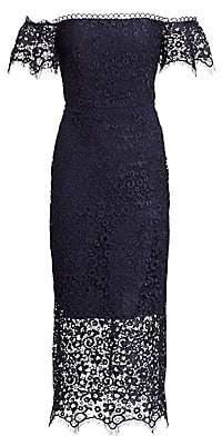 ML Monique Lhuillier Women's Lace Overlay Sheath Dress