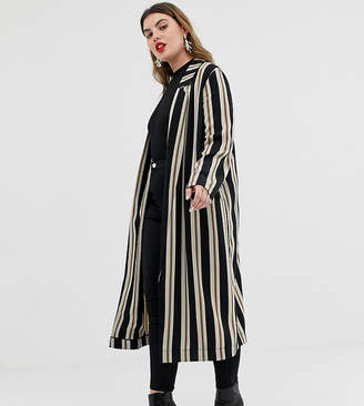 50a361206d6 Showing 42 plus size womens dusters. at ASOS. Asos DESIGN Curve stripe duster  coat