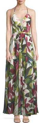 LM Collection Floral Illusion Sweetheart Dress, Green