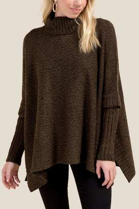 francesca's Penny Side Tie Poncho - Olive