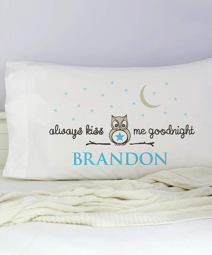 Blue 'Always Kiss Me Goodnight' Personalized Pillowcase