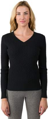 J CASHMERE Women's 100% Cashmere Long Sleeve Pullover Cable-knit V-neck Sweater