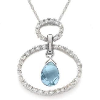 FINE JEWELRY 10K Gold Aquamarine & Diamond Circle Pendant
