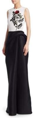 Oscar de la Renta Sequined Silk Column Gown
