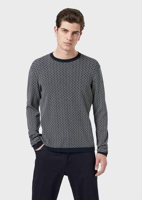Emporio Armani Sweater With Optical-Effect Jacquard Pattern