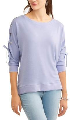 Laundry by Shelli Segal French Women's Lace Up Sleeve Sweatshirt
