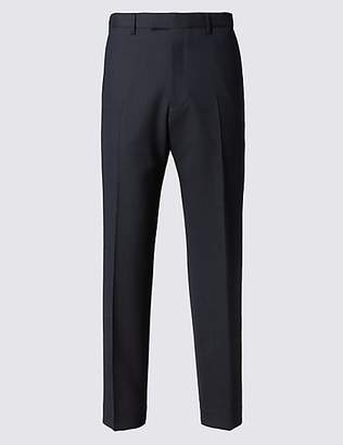 M&S Collection Navy Striped Regular Fit Trousers