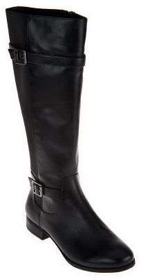 Isaac Mizrahi Live! Gored Leather Riding Boots with Buckle