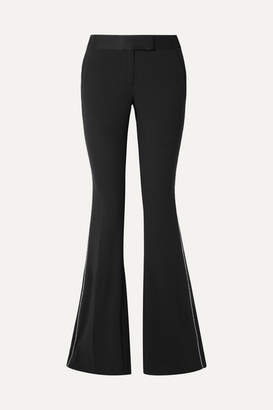 Rachel Zoe Jagger Crystal-embellished Satin-trimmed Crepe Flared Pants - Black
