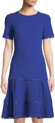 Oscar de la Renta Jewel-Neck Scallop-Trim Dress