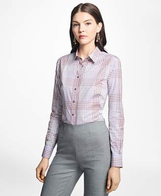 Brooks Brothers Fitted Cotton Poplin Mini-Gingham Blouse