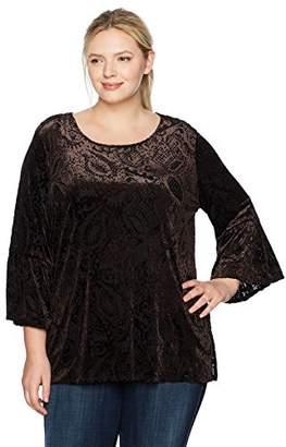 Ruby Rd. Women's Plus Size Scoop-Neck Paisley Burnout Velvet Tunic