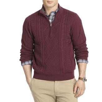 Izod IZOD Aran Cable-Knit Quarter-Zip Sweater $70 thestylecure.com