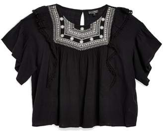 Topshop Embroidered Bead Yoke Smocked Top