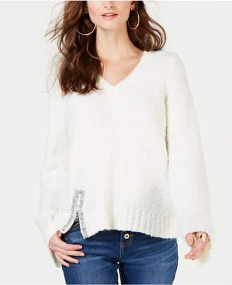 INC International Concepts I.n.c. Petite Embellished V-Neck Sweater