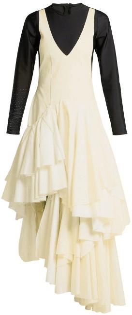 Marine Serre - X Upcycled Woven Midi Dress - Womens - Yellow