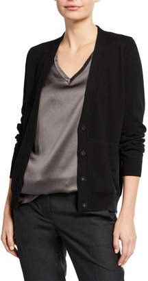 Brunello Cucinelli V-Neck Button-Front Basic Cashmere Cardigan