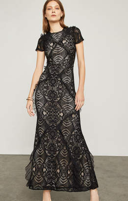BCBGMAXAZRIA Abstract Floral Lace Gown