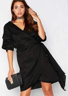 3352e79592a Missy Empire Missyempire Lana Black Bell Sleeve Wrap Tie Dress