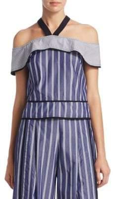 Proenza Schouler Stripe Cold-Shoulder Cotton Top