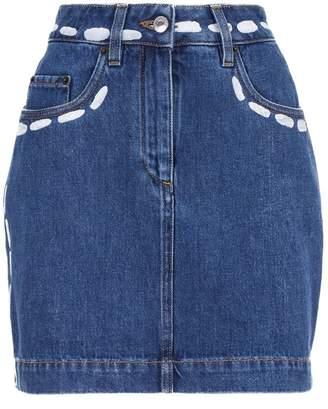 Moschino Paint Splatter Denim Skirt