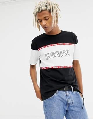 K-Swiss Crenshaw Logo Panel T-Shirt In Black